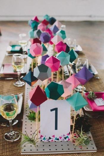Affordable Geometric Wedding Centerpiece