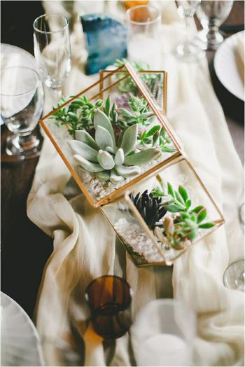 Succulent Geometric Wedding Centerpiece