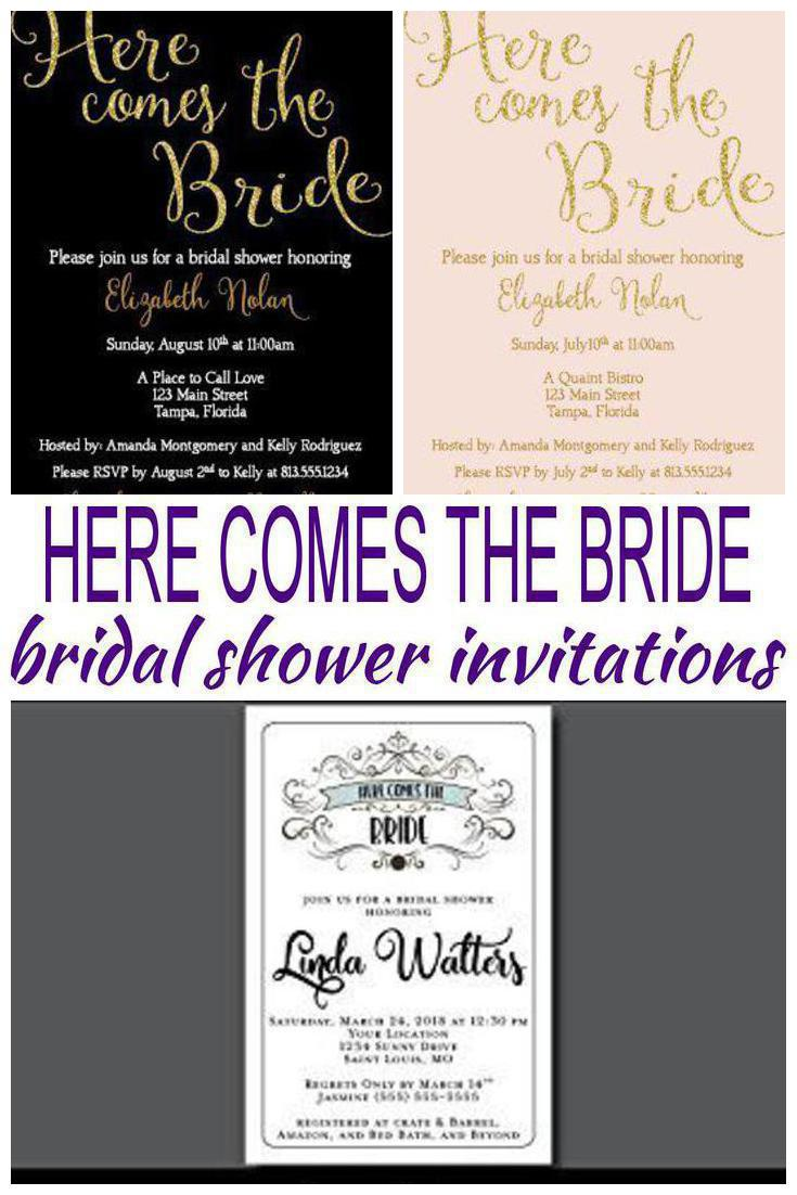 here comes the bride bridal shower invitations